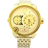 Luis Cardini Fashion style Two Time Zone Men`s Watch silver tone and gold tone - 3