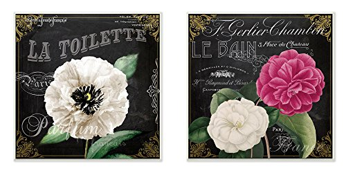- Stupell Home Décor La Toilette and Le Bain French Floral 2pc Wall Plaque Art Set, 12 x 0.5 x 12, Proudly Made in USA