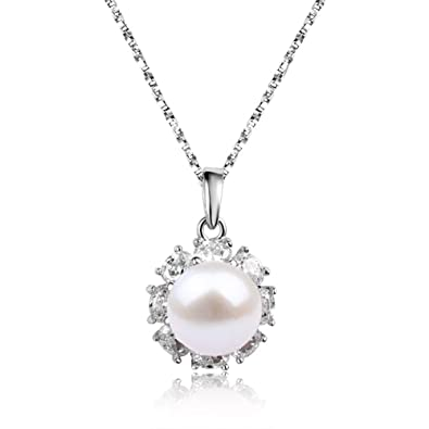 Freshwater Cultured Pearl Necklace Pendants 16 inch S925 Sterling Silver Chain for Women PXeu9g6vD