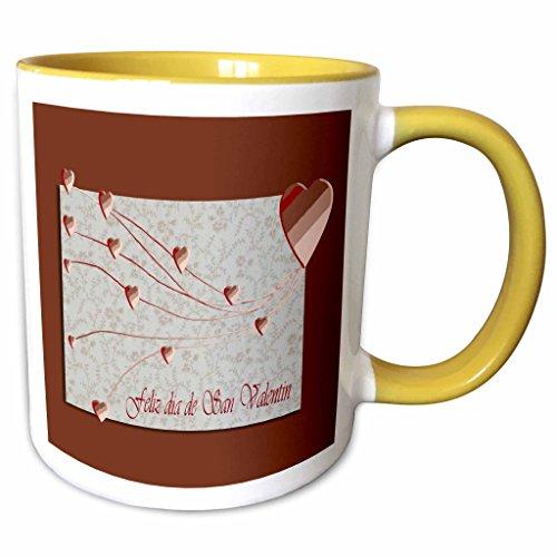 3dRose Beverly Turner Valentine Design - Feliz dia de San Valentin, Happy Valintines Day in Spanish, Copper Hearts - 11oz Two-Tone Yellow Mug (mug_37053_8)