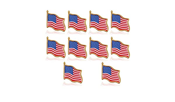ueetek 10pcs American Flag Waving lapel pins Estados Unidos ...