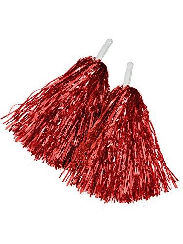 - BBTO 1 Pair Cheerleading Poms Plastic Cheerleading Pom Poms For Football Basketball Cheers (Red)