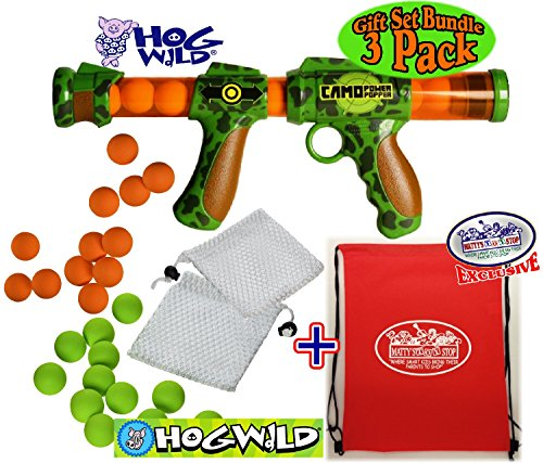 Hog Wild Camo Power Popper Pump Action Blaster, with Green & Orange Soft Foam Replacement (Refill) Balls Deluxe Gift Set Bundle with Exclusive