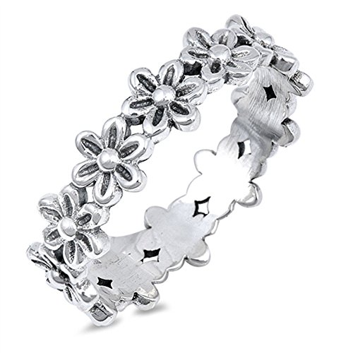 (Plumeria Flower Eternity Promise Ring .925 Sterling Silver Daisy Band Size 10)