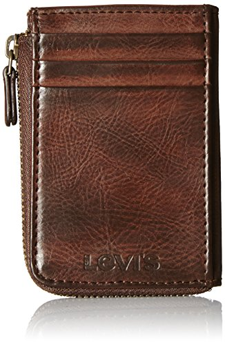 Levi's Men's Half Zip Card Holder Wallet