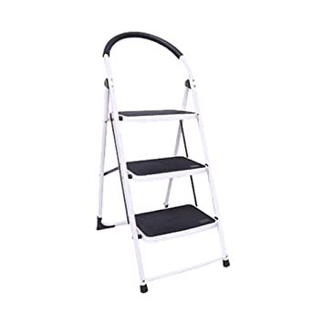 Tremendous Centurich 3 Step Folding Stool Steel Step Stool Foldable Step Ladder With Rubber Handgrip And Non Slip Treads White Alphanode Cool Chair Designs And Ideas Alphanodeonline