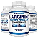 Premium L Arginine – 1340mg Nitric Oxide Booster with L-Citrulline & Essential Amino Acids for Heart and Muscle Gain | NO Boost Supplement for Endurance and Energy | 60 Capsules For Sale