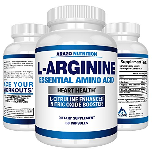 (Premium L Arginine - 1340mg Nitric Oxide Booster with L-Citrulline & Essential Amino Acids for Heart and Muscle Gain | NO Boost Supplement for Endurance and Energy | 60 Capsules)
