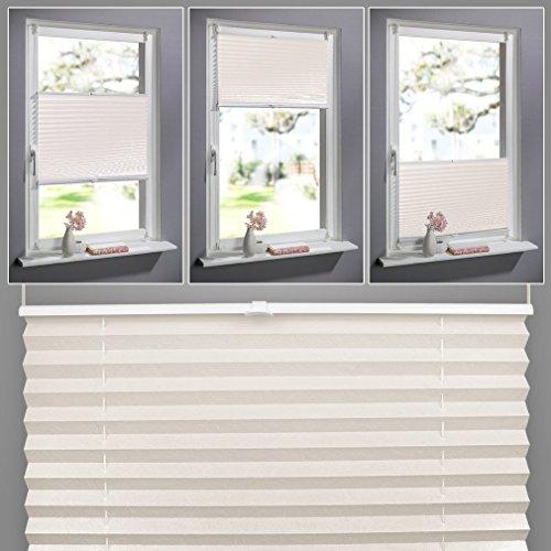 SHINY HOME® Plissee Beige 60cm breit und 130cm hoch klemmfix Jalousien Plisseerollo ohne bohren für Fenster Tür mit Klemmträger