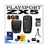 Kodak PlaySport (Zx5) HD Waterproof Pocket Video Camera - Black (2nd Generation) 8GB Accessory Saver Bundle