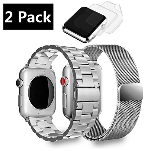 (2 Pack) Watch Band 42mm 44mm Stainless Steel, GP Metal Link Bands Bracelet Compatible Apple Watch Series 4, Series 3, Series 2, Series 1, iwatch Sports & Edition, Plus 2 Screen Protector