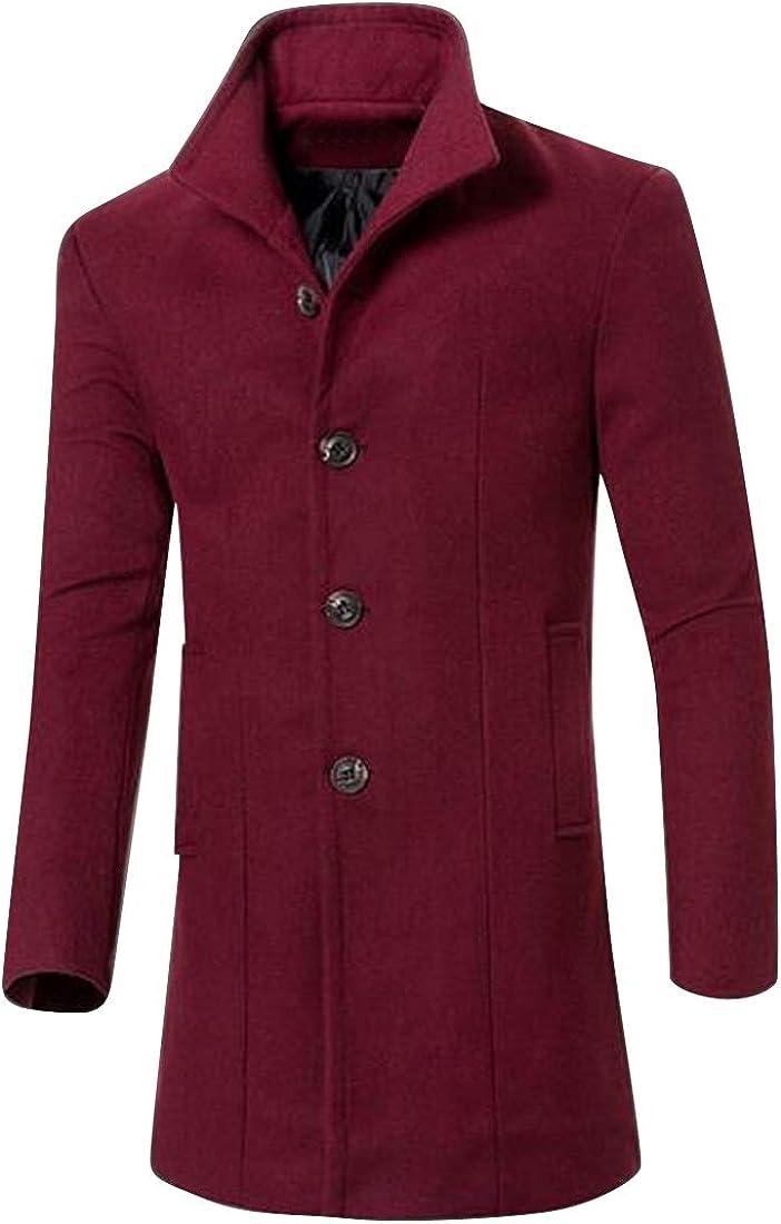 MMCP Men Single Breasted Slim Fit Mid Length Lapel Trench Pea Coat Jacket Overcoat