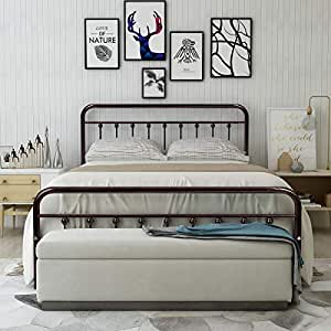 Amazon Com Homerecommend Metal Bed Frame Queen Size Steel