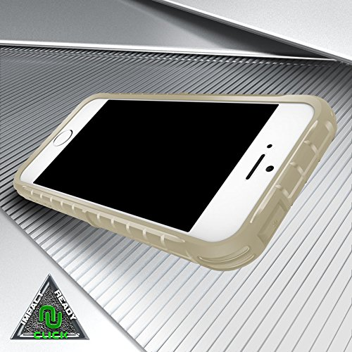 iPhone si/5/5g/5S Case, Click Case [dynite Coque] W/Free [Clear Glass iPhone si/5/5g/5S Screen Protector] Heavy Duty [Anti-Grip Slip]