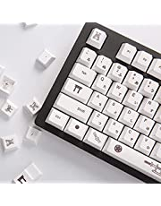 Heywood PBT Dye Sub ANSI Layout Keycaps-104+19 Keys Japanese Keycap set for Customized Mechanical Keyboard-Compatible with Cherry MX Switches and Clones (Only Keycaps-White Samurai)