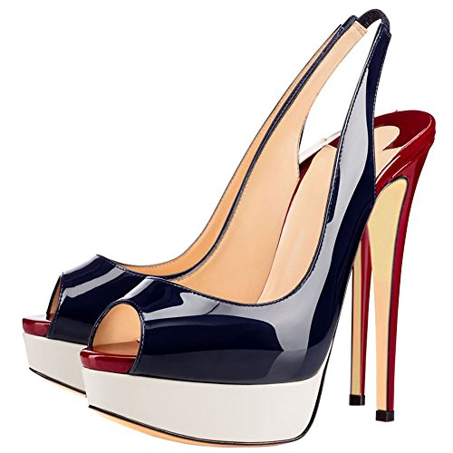 tacón color Zapatos aguja 44 azul mujer talla MERUMOTE de de EU FYSdH