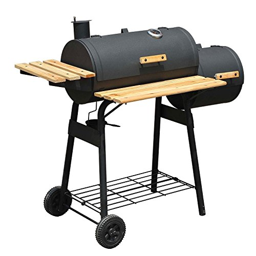 48″ Backyard BBQ Grill Charcoal Barbecue Cooker Offset Smoker Combo With Wheels
