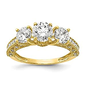 Hermoso oro amarillo 10K 10K Tiara Collection pulido CZ® anillo ...