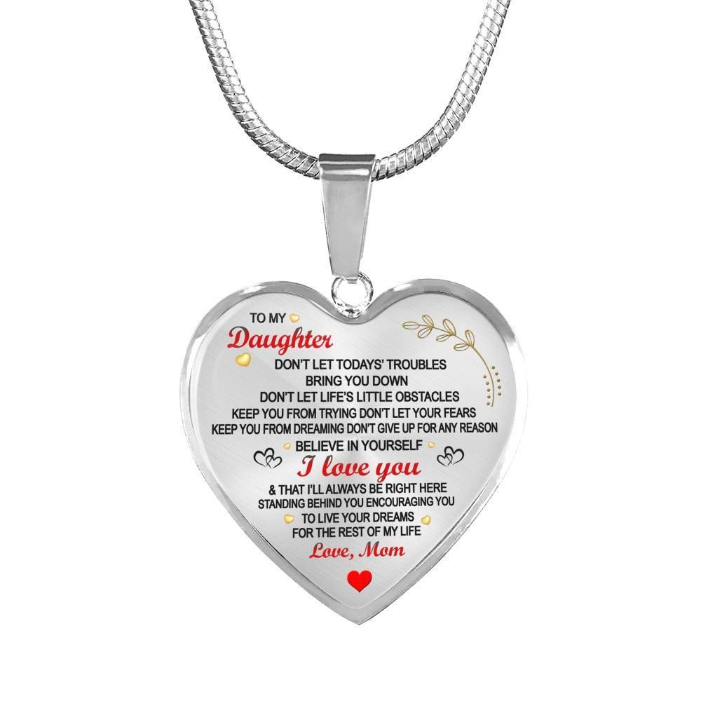 ThisYear Daughter Love Mom Heart Pendant Necklace Anniversary Birthday Gifts for Little Girl Believe in Yourself Quotes Jewelry Mother and Child Necklaces Kids