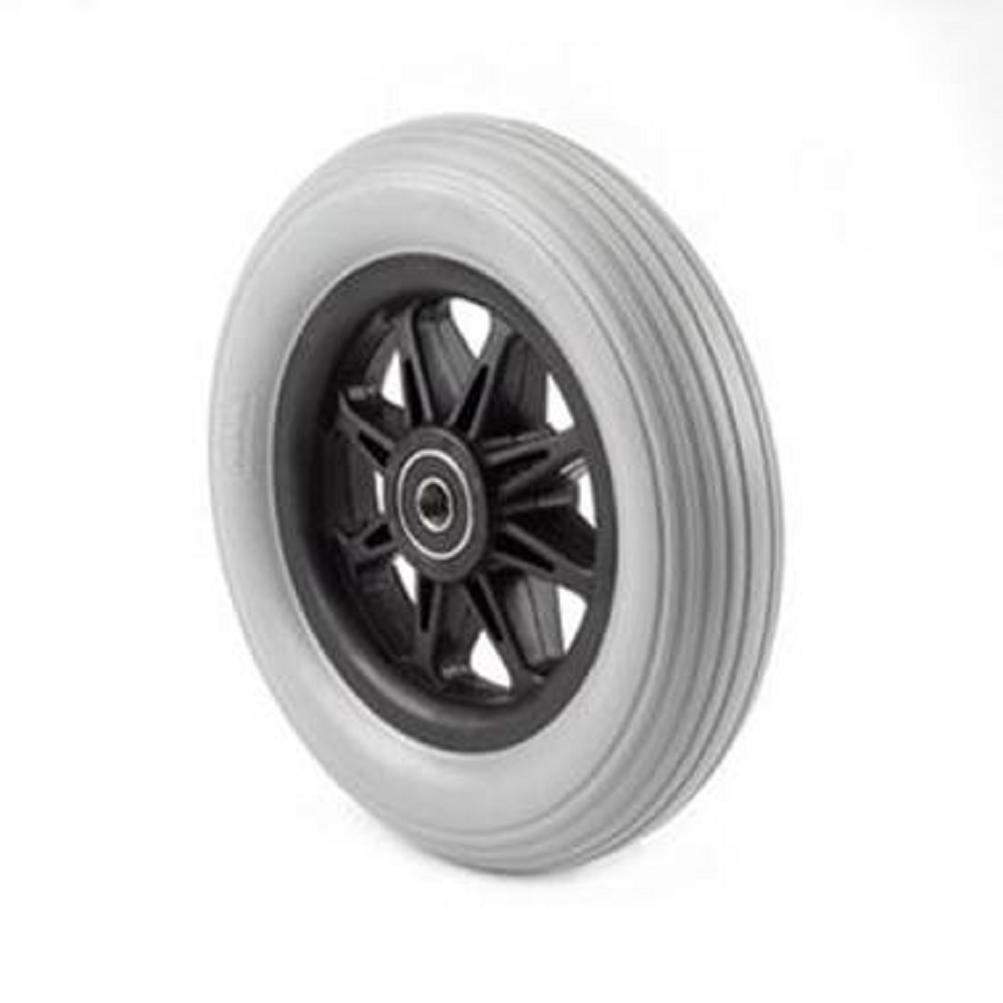 Pair of 6'' X 1'', 8-spoke Black, Grey Rubber Caster Tires for Powerchair Wheelchair rp182002