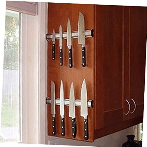 DE Set of 2 14 inch Magnetic Knife Holder Rack Bar Heavy Duty Modern Aluminum Structure Knife Strip Easy to Mount with Included Anchors and Screws