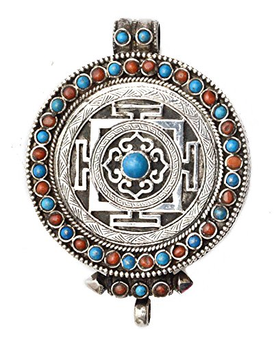 Mandala Gau Box Pendant with Coral and Turquoise - Made in Nepal - Sterling Silver