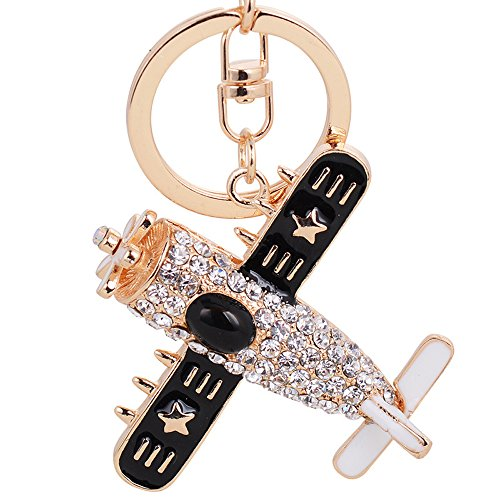 Osye Gold-tone Swarovski Accent Crystal Mini Air Plane Keychain Cute Purse Handbag Hanging Pendant with Charm Gift Box (Black) (Crystal Accent Gold Tone Key)