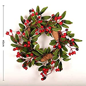 16 Inch European Flower Door Wreath Handmade Artificial Floral Garland with Red Berry Pine Cone for Front Door Display Wedding Farmhouse Home Wall Christmas Decoration 3