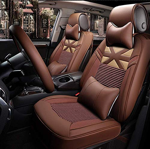 AYCYNI Ice Silk Car Seat Cover - Non-Slip Suede Backing Universal Fit Cushion For Fabric And Leather Car Seats,Beige,Brown: Kitchen & Home