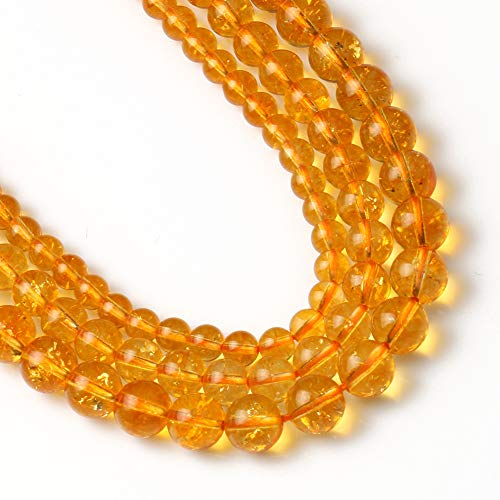 Yochus 6mm Citrine Beads Round Loose Beads Natural Stone Beads for Jewelry Making