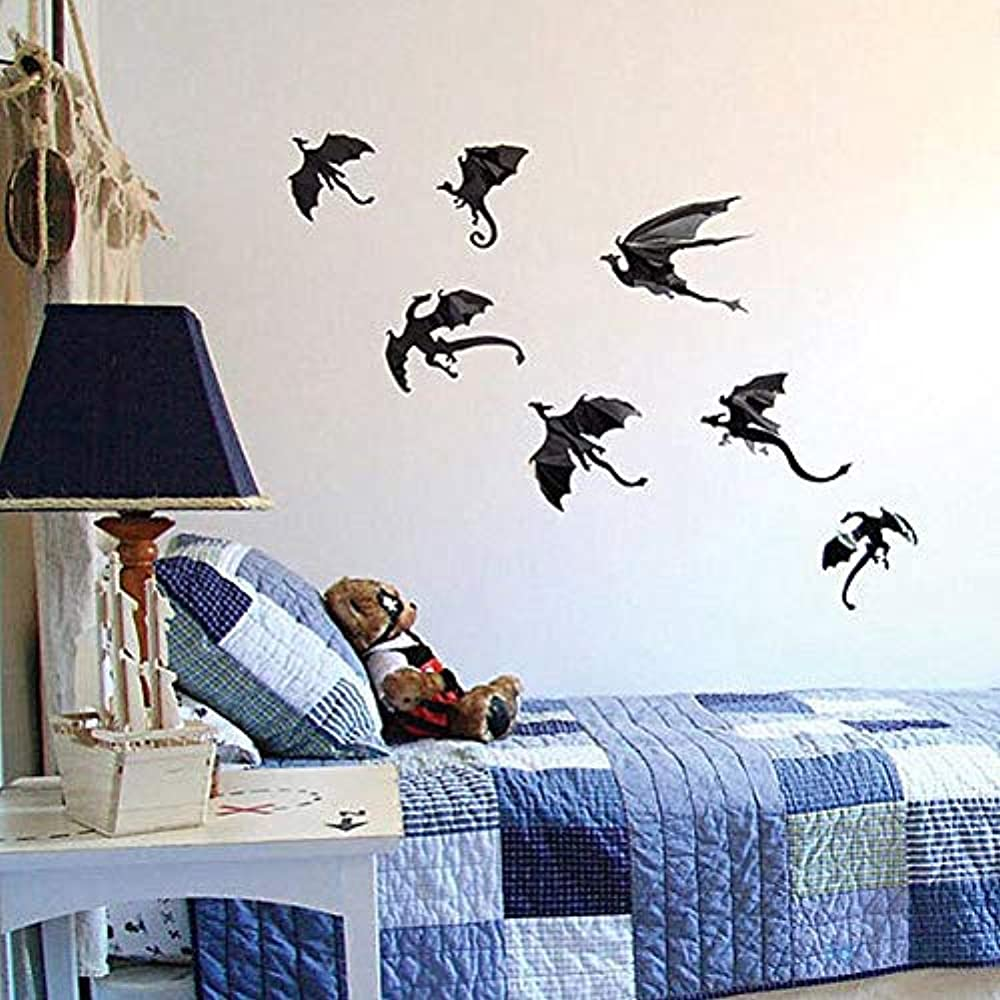 Details About Dragon Wall Decals 7 Pack Lot Game Of Thrones Spired Diy Halloween Gothic 3d For