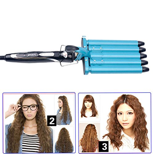 inkint Profession Ceramic Waving Iron, Deep Wave Hair Curling Iron, Hair Barrels Curler Hairstyle Styling Tool-3 Temperature Choices for Soft or Harden Hair (16mm) (Blue)