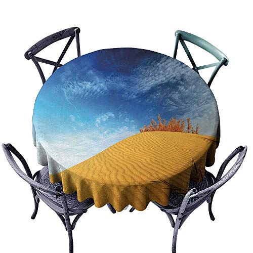 HCCJLCKS Waterproof Tablecloth Landscape Hot Desert with Sand Dunes and Dry Plants with Blue Sky Nature Art Print and Durable D43 Blue and Apricot