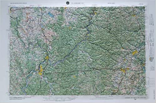 Map Of Ohio West Virginia And Pennsylvania.Clarksburg West Virginia Ohio Pennsylvania Raised Relief Map