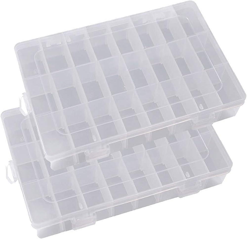Ritte Ajustable Caja de Almacenamiento de Plástico con 24 Compartimentos para Joyas con Separadores Extraíbles Grifri Caja Grande Joyería Organizador Contenedor de Herramientas (Transparente)