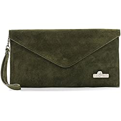 LiaTalia Italian Suede Leather Envelope Evening Clutch Bag with Cotton Lining and a Dust Protection Bag - Leah Deep Olive