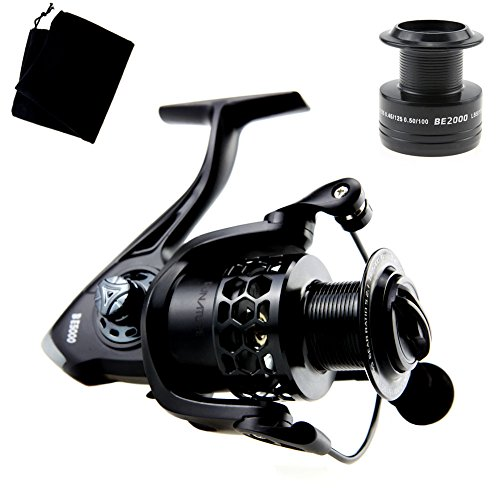 RUNATURE Fishing Reels Bait feeder Aluminum Spinning Reel, Light Weight Smooth Silence Performance, Left/right Interchangeable Collapsible Handle, Gear Ratio 5.2:1, for Freshwater and Saltwater (2000)
