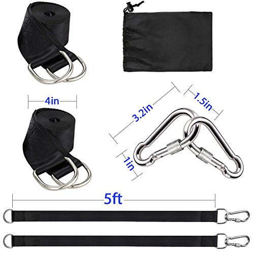 Tree Swing Hanging Straps Kit Holds 2000 lbs,5ft Extra Long Straps Strap with Safer Lock Snap Carabiner Hooks Perfect for Tree Swing & Hammocks, Perfect For Swings,Carry Pouch Easy Fast Installation