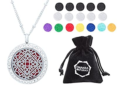 "Aromatherapy Necklace - Essential Oils Diffuser - Hypoallergenic - 25mm Diameter Surgical Stainless Steel - Mandala Diagram & Rhinestones Locket/Pendant - w-24"" Chain + 17 Refill Pads"