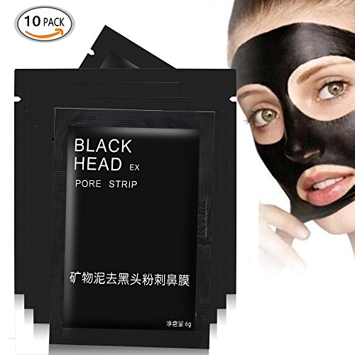 [10pcs Mineral Black Mud Nose Blackhead Remover Face Facial Black Mask Pore Acne Treatments Mask Cleaner Pore Cleansing Blackhead Mask] (Peeling Face Costume)