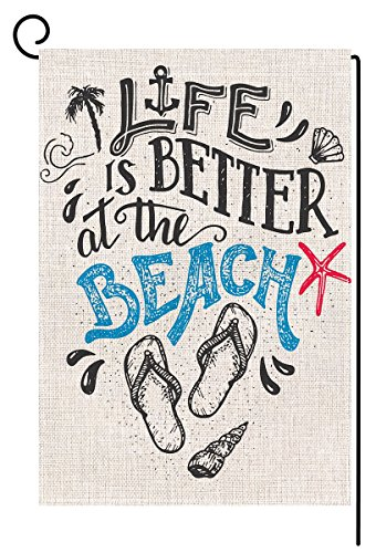 Beach Summer Garden Flag Vertical Double Sided 12.5 x 18 Inc