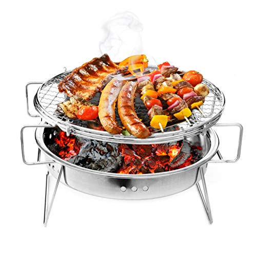 Baomabao Stainless Steel Grill,Foldable Mini Barbecue Grill, Portable Camping Garden Outdoor Travel Charcoal Rack