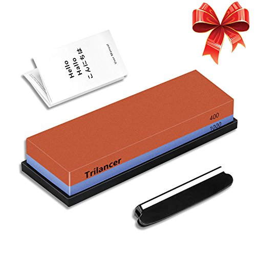 Sharpening Stone Whetstone 400/1000, Trilancer Knife Sharpener Kit, Water Stone, 2-IN-1 Grit, for Edge Repair and Sharpening, Angle Guide and Rubber Base Included