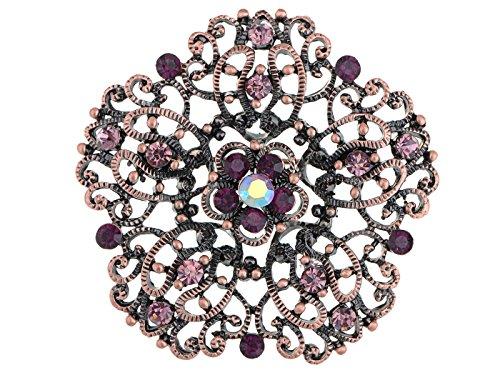 Alilang Copper Tone Purple Rhinestones Daisy Floral Princess Shield Crest Brooch Pin