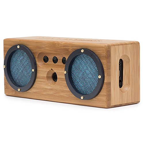 BONGO Wood Bluetooth Speakers | Retro Handcrafted Bamboo | Portable Wireless Speaker for Travel, Home, Shower, Beach, Kitchen, Outdoors | Loud Bass with Dual Passive Woofers | Vintage Blue by Otis & Eleanor