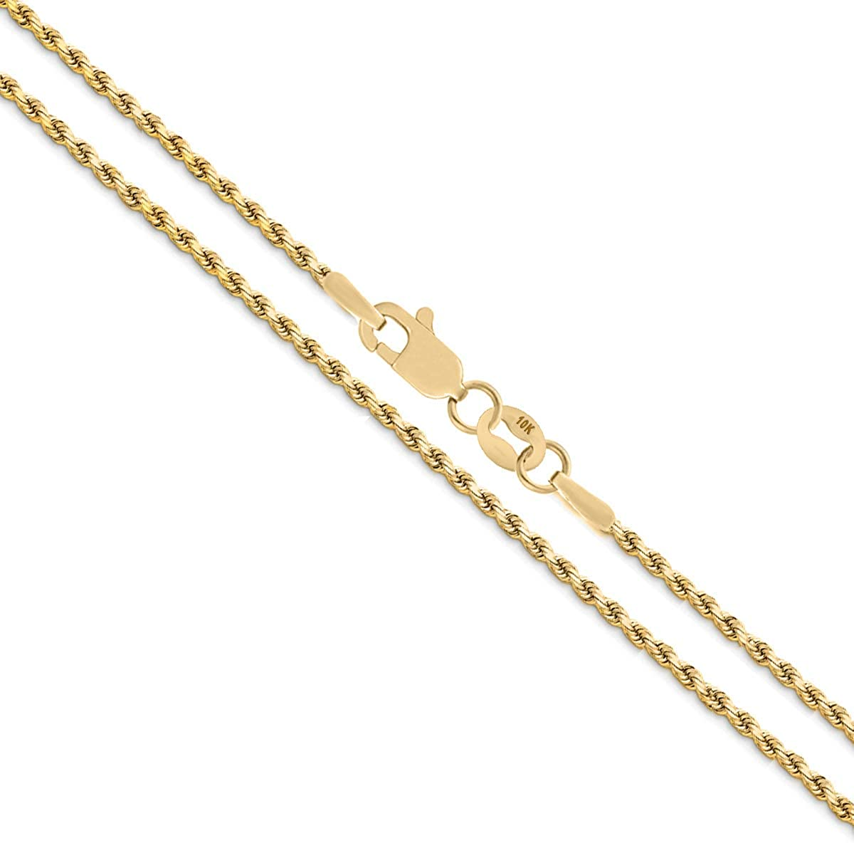 Sizes 16-30 Verona Jewelers 14K Gold 1.8MM Diamond Cut Rope Chain Necklace for Men and Women 18