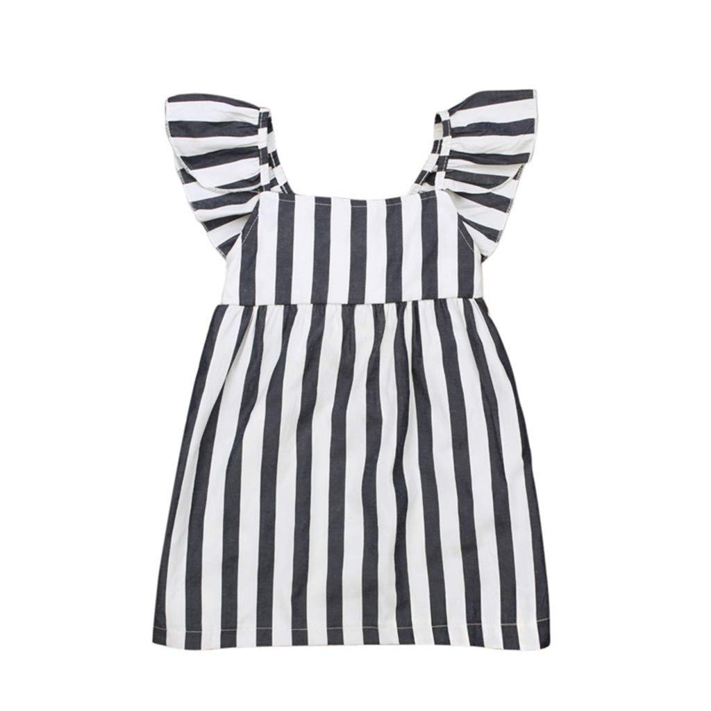 SSZZoo Toddler Kid Baby Girl Dress Flying Sleeve Bowknot Stripe Loose Summer Princess Clothes