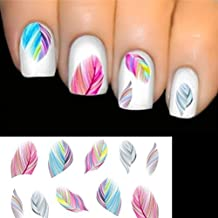 Meidus Charming Nail Feather Art Water Transfer Decal Sticker Rainbow
