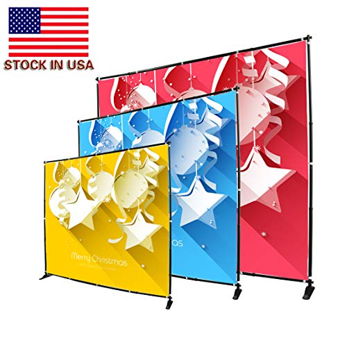 Displayfactory USA 10 Foot Step and Repeat Display Adjustable Backdrop Wall Trade Show Photography Background Banner Stand (Best Trade Show Banners)