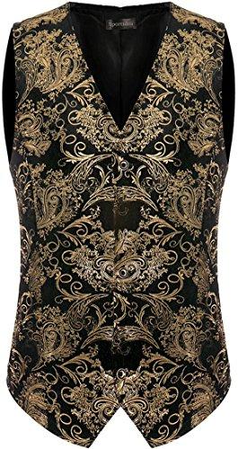 Sportides Mens Gold Printing Waistcoat Gilet Gentleman Slim Vest Suits Blazer JZA145 Gold M